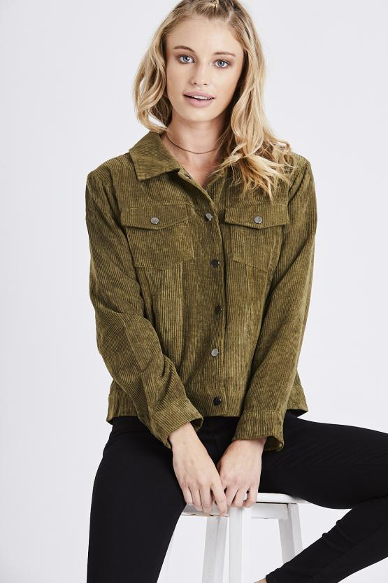 Chenille Cord Snap Button Jacket - Khaki
