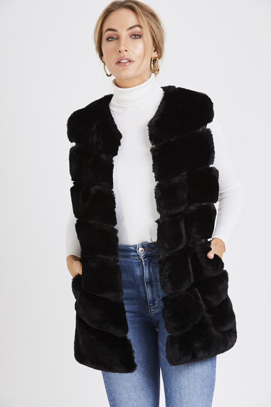 Faux Fur Panelled Gillet - Black