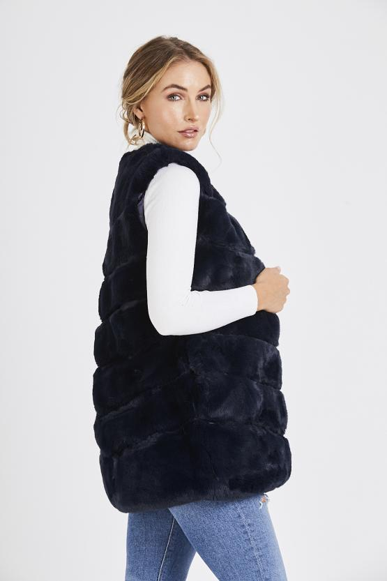 Faux Fur Panelled Gillet - Navy