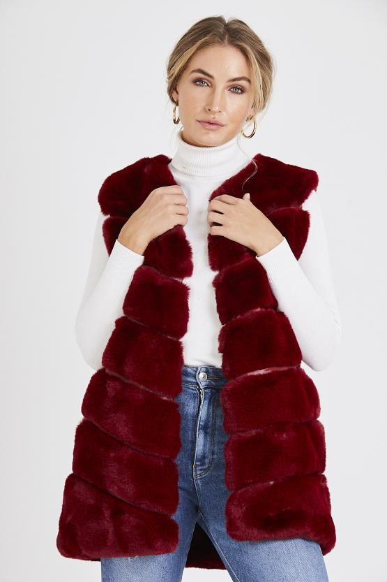 Faux Fur Panelled Gillet - Wine