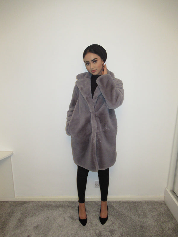 MS x SI Faux Fur Soft Coat - Grey