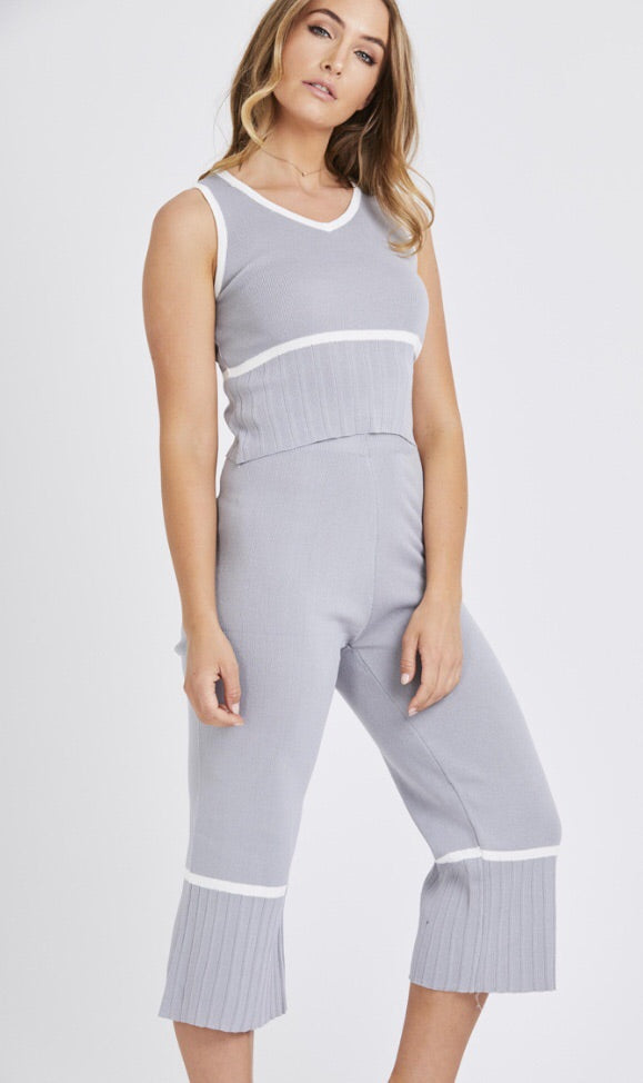 Light Knit Stripe 2 Piece Set- Grey