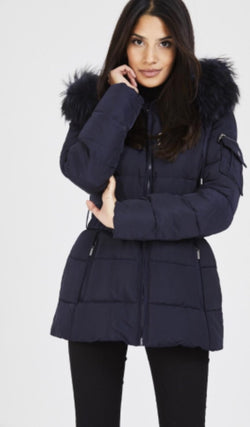 Attentif Paris Parka Raccoon Fur Coat- Navy (Navy Fur)