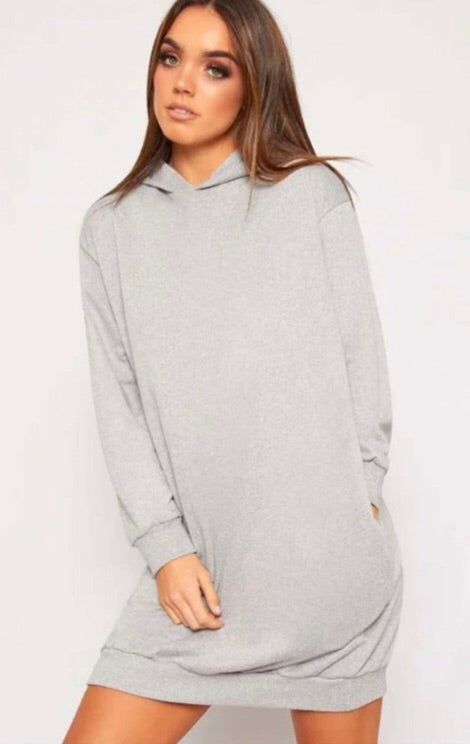 Oversized Pocket Hoody Dress - Grey