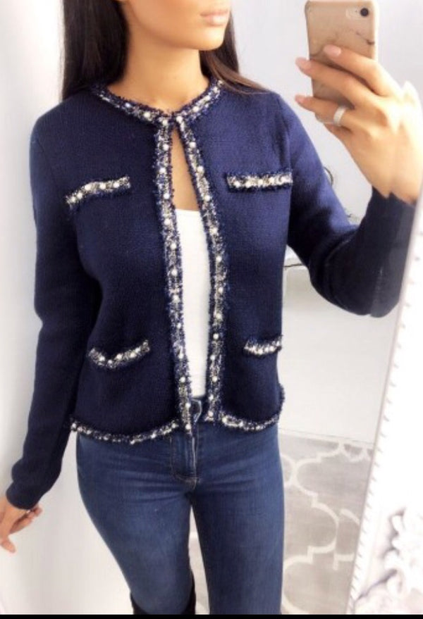 Coco Tweed Knitted Cardigan Jacket - Navy