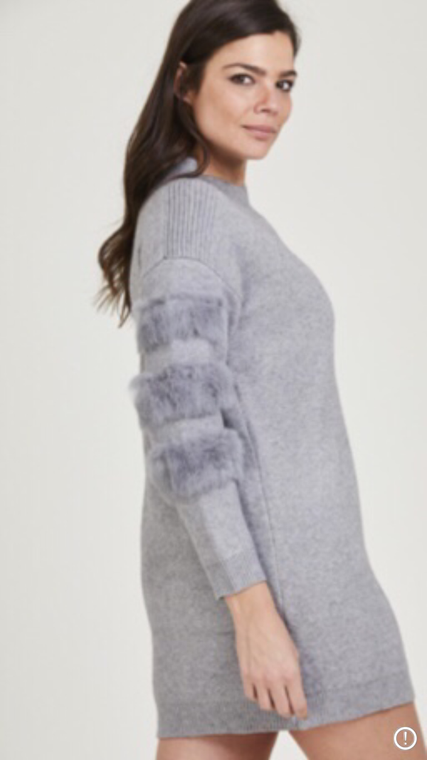 Fur Sleeve Jumper Dress - Grey