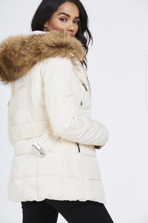 Attentif Paris Parka Raccoon Fur Coat- Cream (Natural Fur)