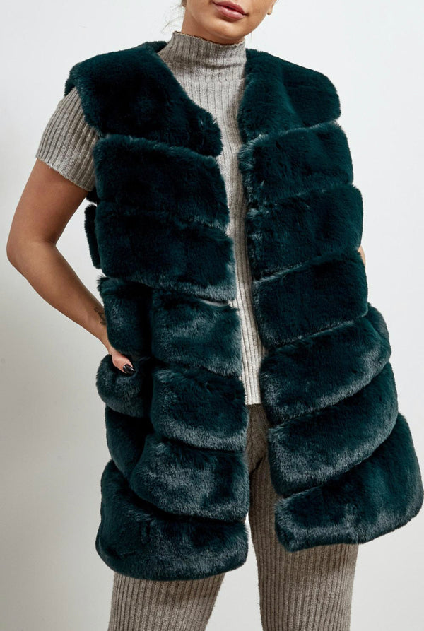 Faux Fur Panelled Gillet - Green