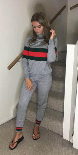 Gucci Inspired Rollneck Loungeset - Grey