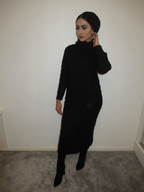 MS x SI Roll Neck Ribbed Maxi Jumper Dress - Black