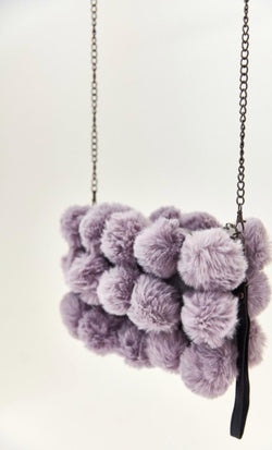 Pom Pom Faux Fur Detail Bag - Grey