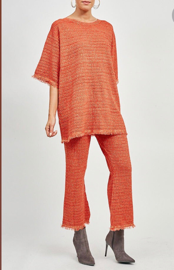 Metallic Oversized Co-Ord - Orange