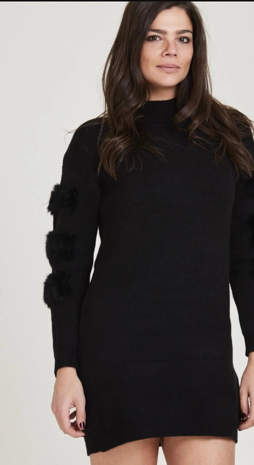 Fur Sleeve Jumper Dress - Black
