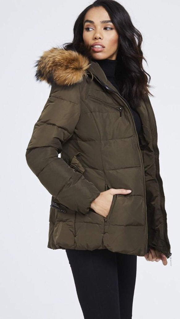 Attentif Paris Parka Raccoon Fur Coat- Khaki (Natural Fur)