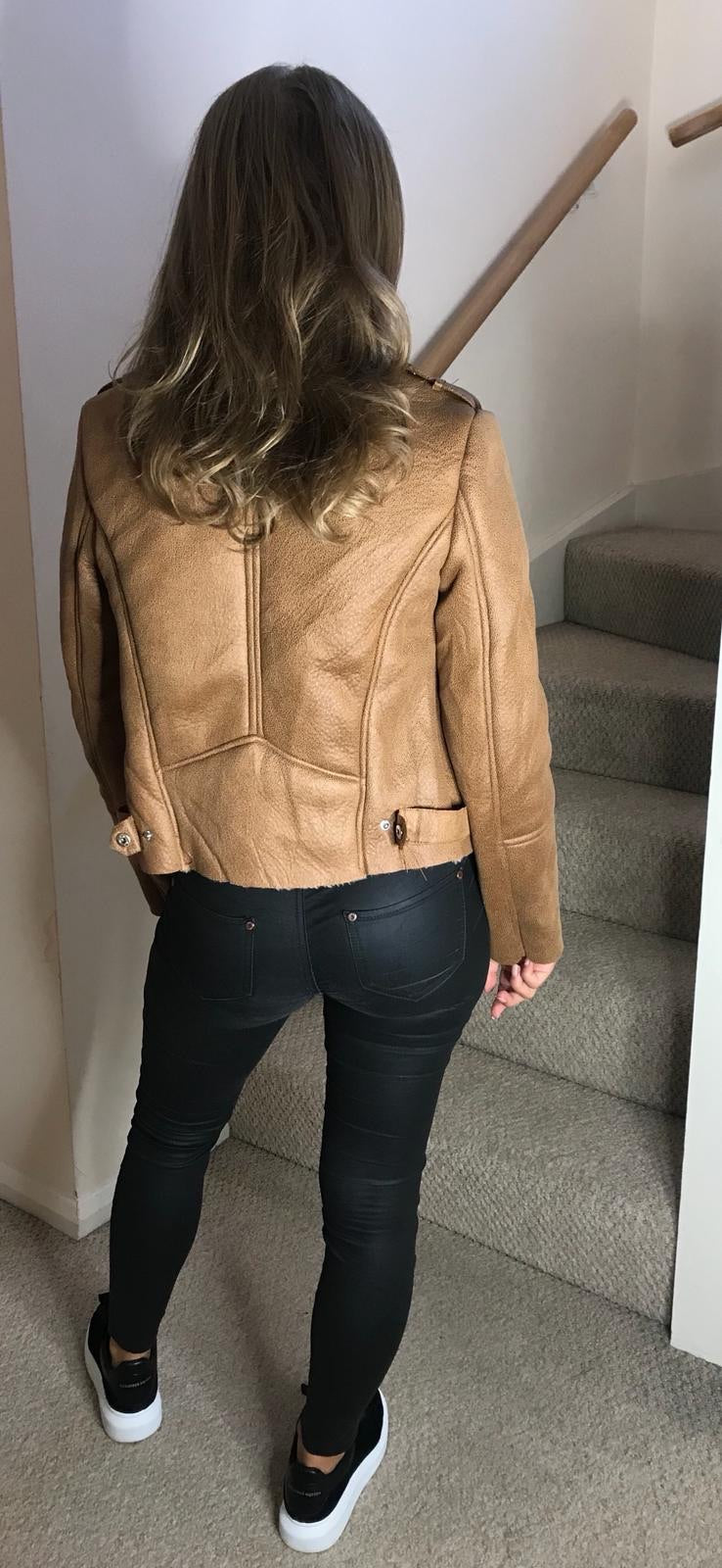Aviator Fur and Leather Jacket - Tan