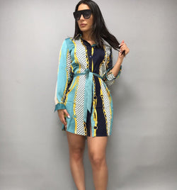 Key Print Shirt Dress- Blue