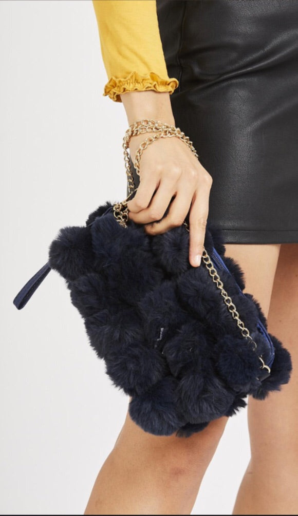 Pom Pom Faux Fur Detail Bag - Navy