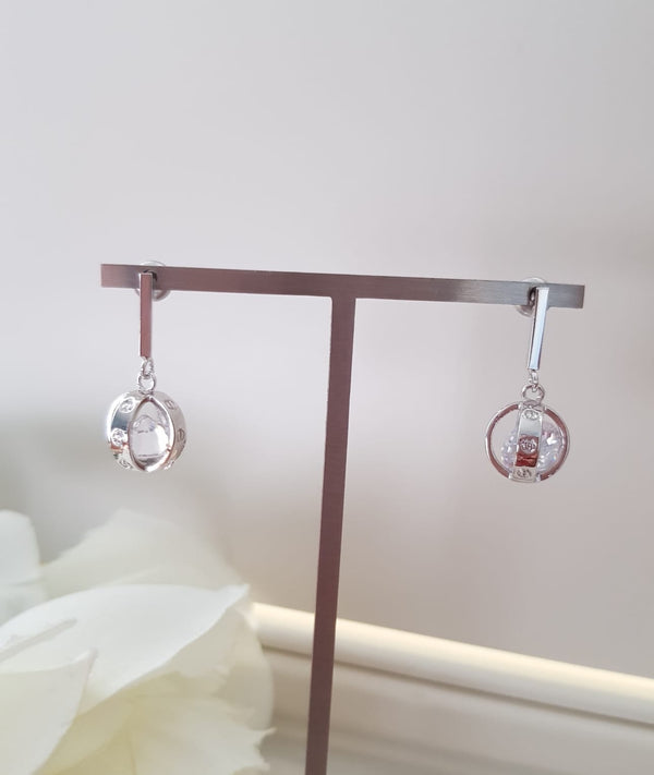 Designer Inspired Ball Love Earrings - Silver