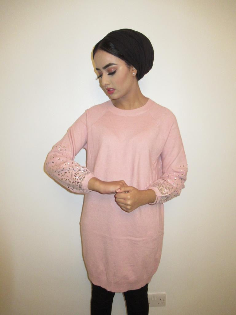 MS x SI Sequin Sleeve Jumper Dress - Pink