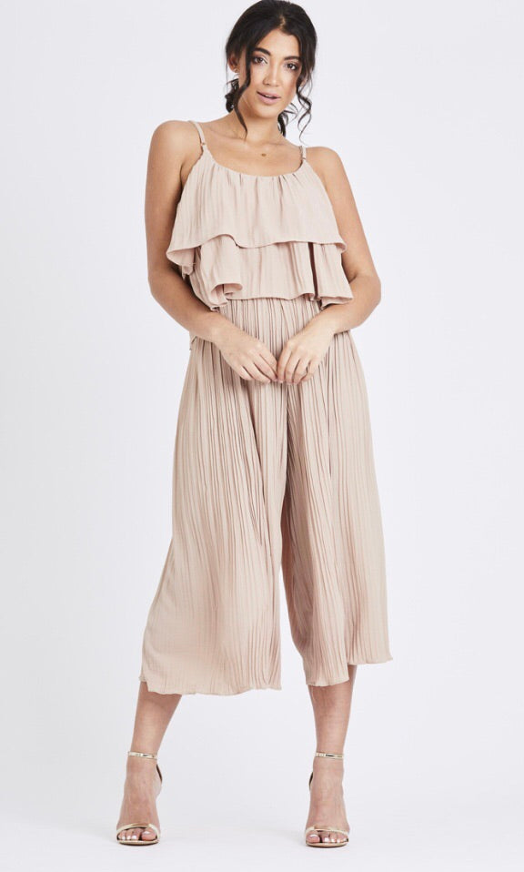 Pleated Two Piece Set - Beige
