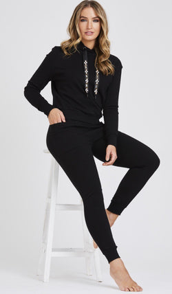 Jewel Embellished Soft Knit Tracksuit - Black