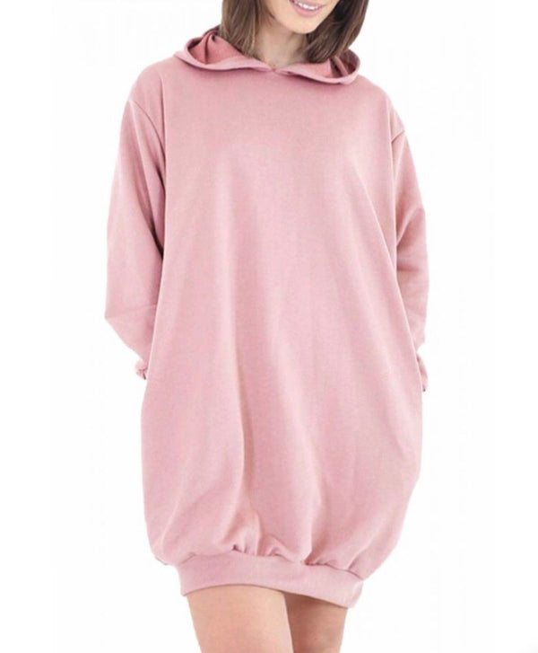 Oversized Pocket Hoody Dress - Pink