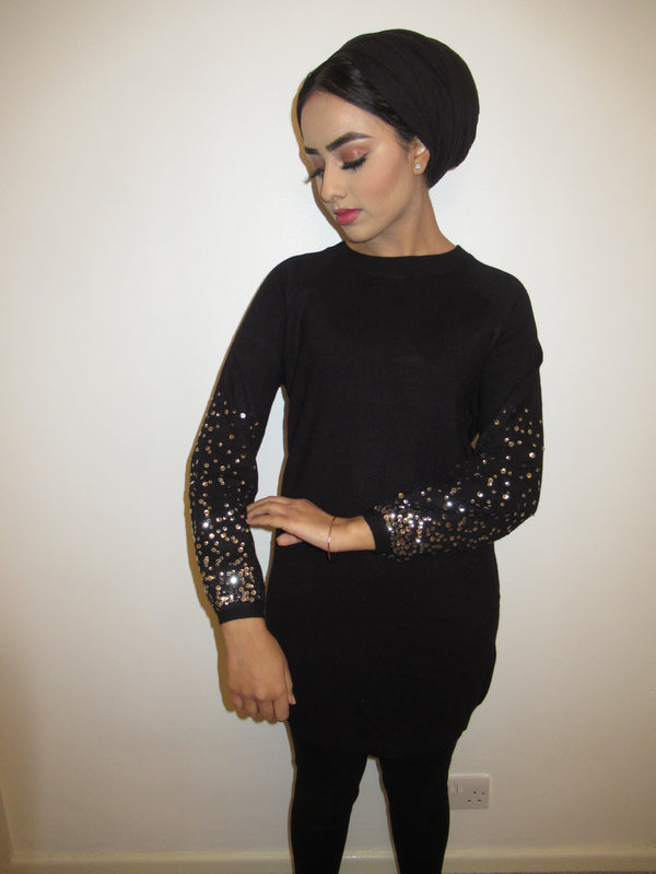 MS x SI Sequin Sleeve Jumper Dress - Black