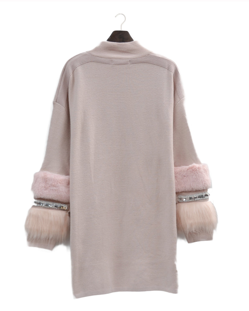 Aztec Diamonte and Fur Sleeve Jumper Dress - Pink