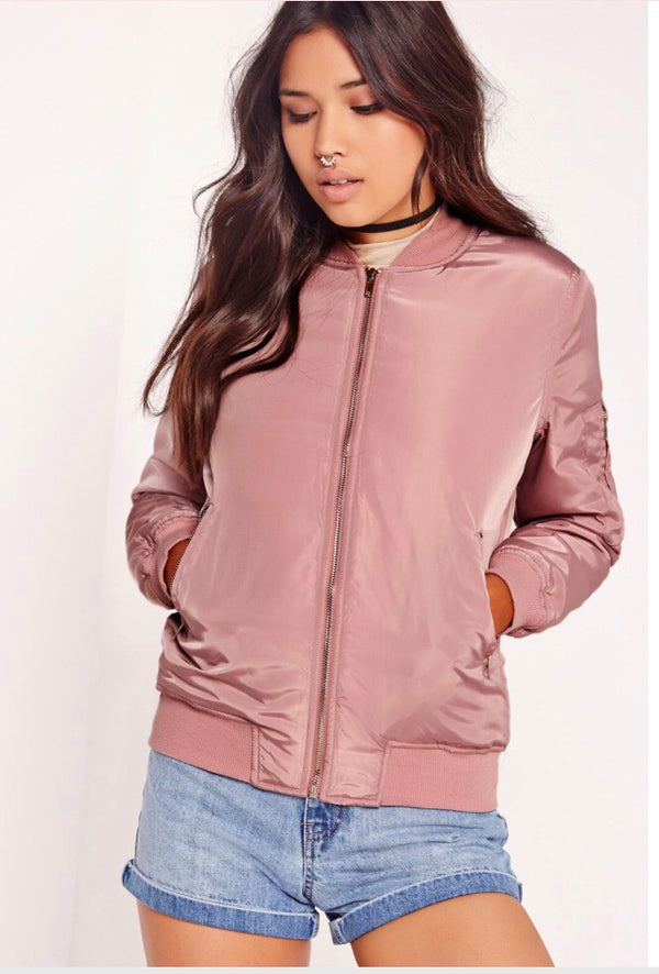 Rose Pink Padded Bomber Jacket