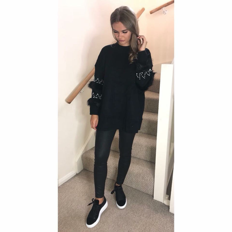 Pearl and Fur Sleeve Jumper Dress - Black