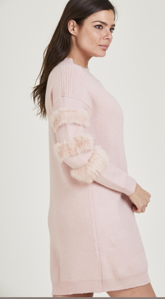 Fur Sleeve Jumper Dress - Pink