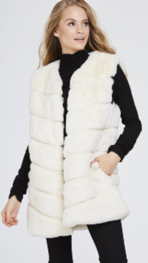 Faux Fur Panelled Gillet - Cream