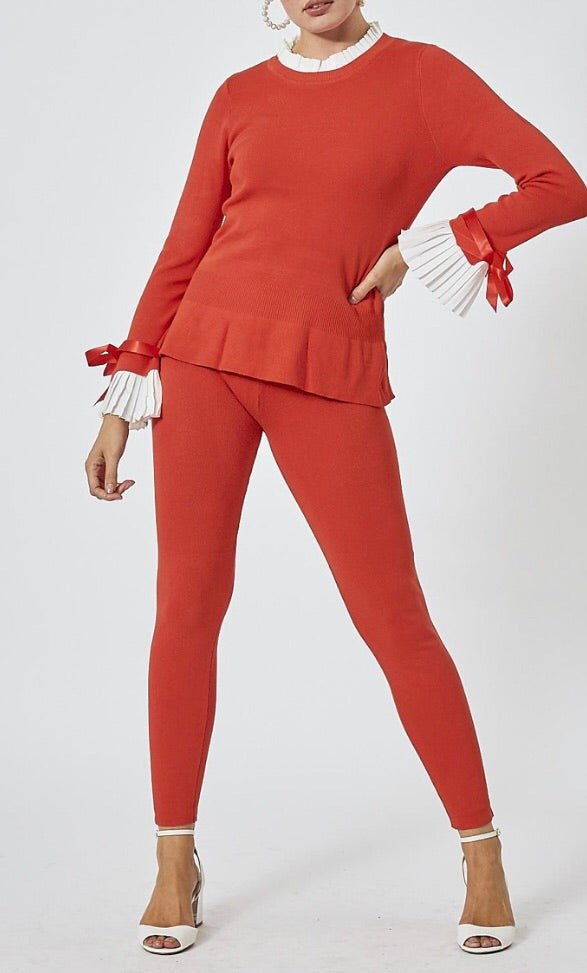 Knitted Pleated Cuff Co-Ord Set - Orange