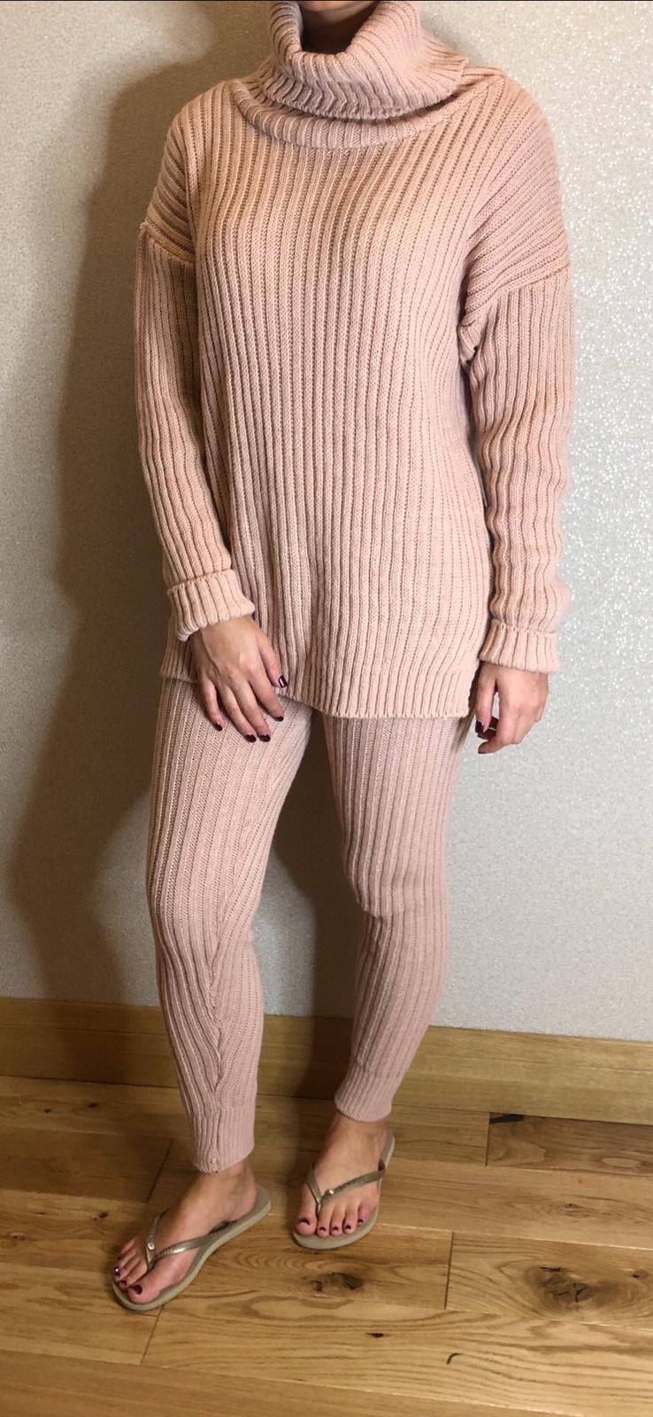 MS x SI Cosy Roll Neck Ribbed Two Piece Loungeset - Pink