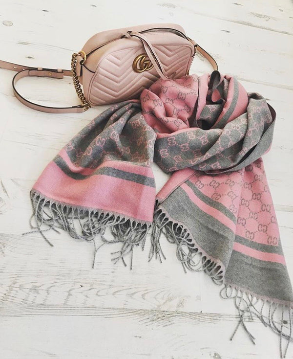 GG Cashmere Scarf - Pink