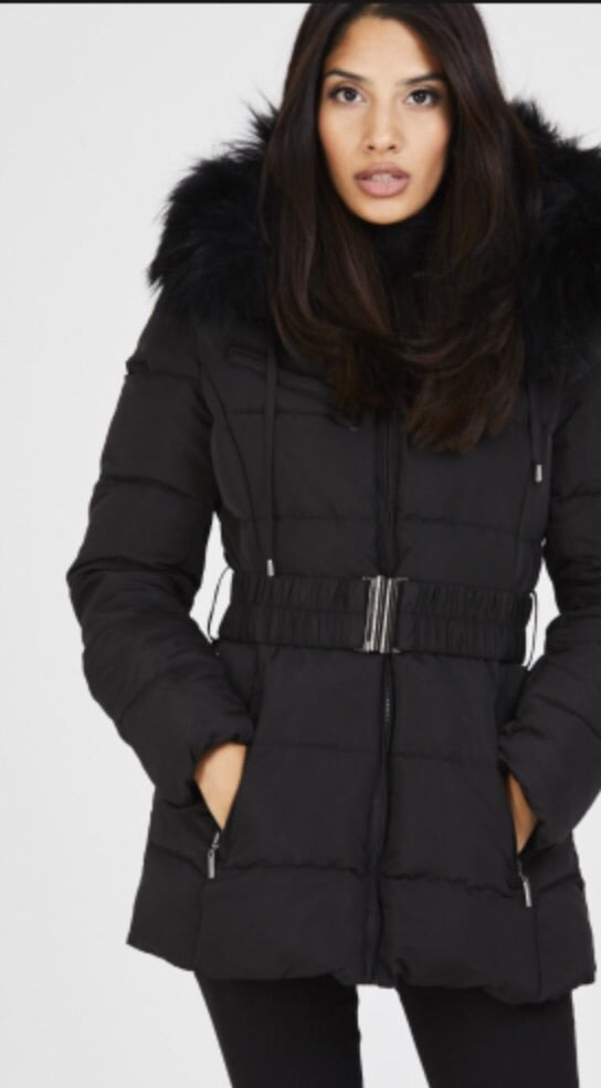 Attentif Paris Parka Raccoon Fur Coat- Black (Black Fur)