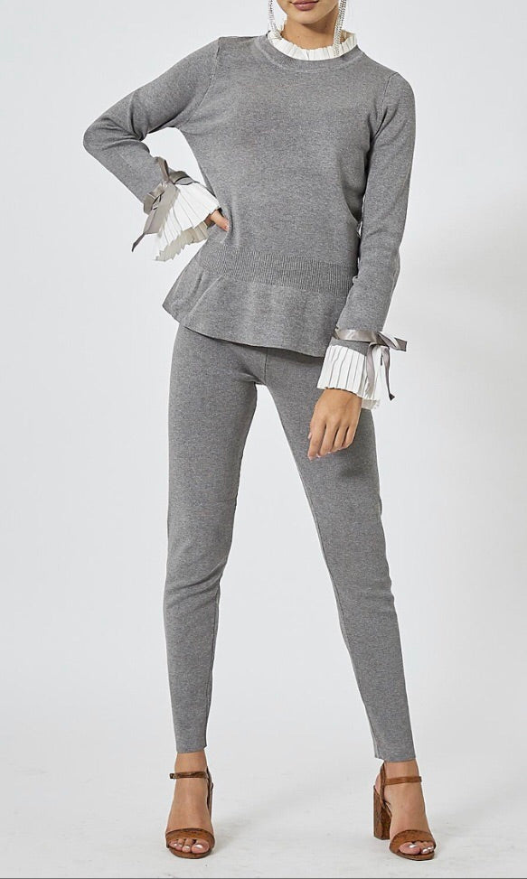 Knitted Pleated Cuff Co-Ord Set - Grey