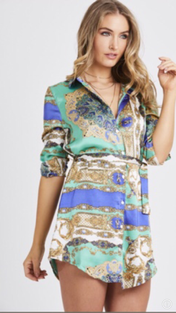 Vintage Print Shirt Dress - Blue