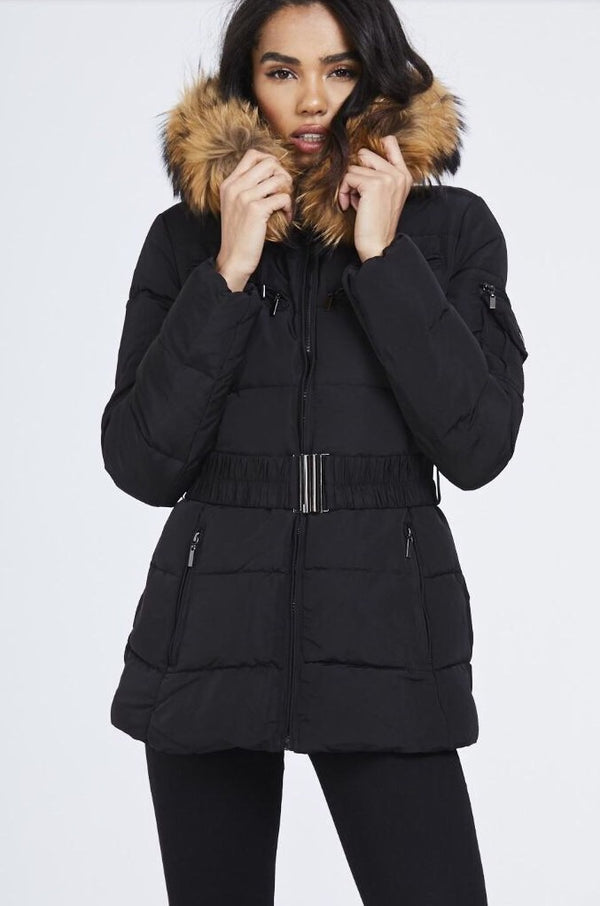 Attentif Paris Parka Raccoon Fur Coat- Black (Natural Fur)