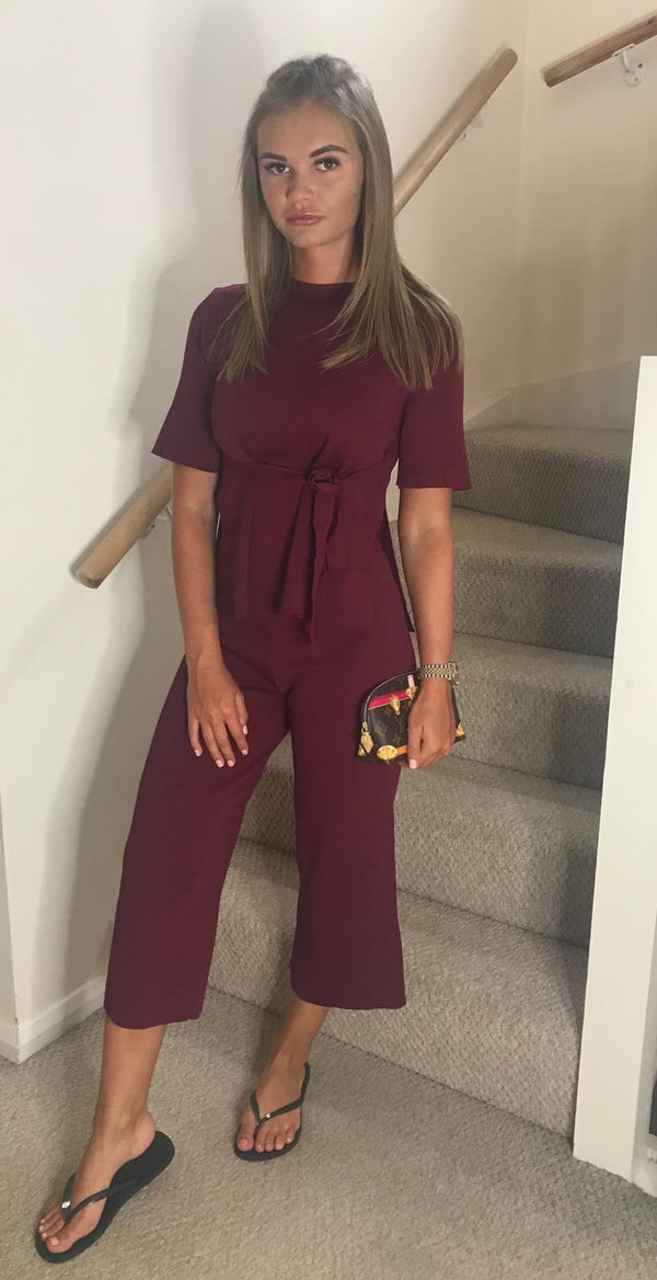 Tie Up Top with Cropped Trousers Co-ord Set - Wine