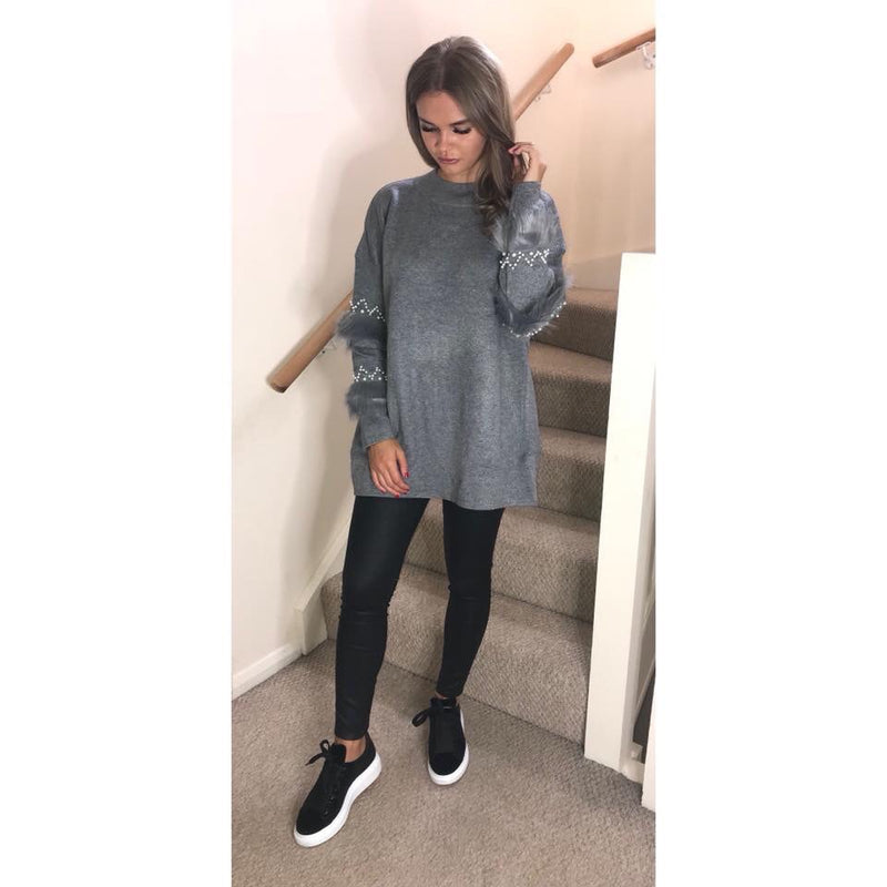 Pearl and Fur Sleeve Jumper Dress - Grey
