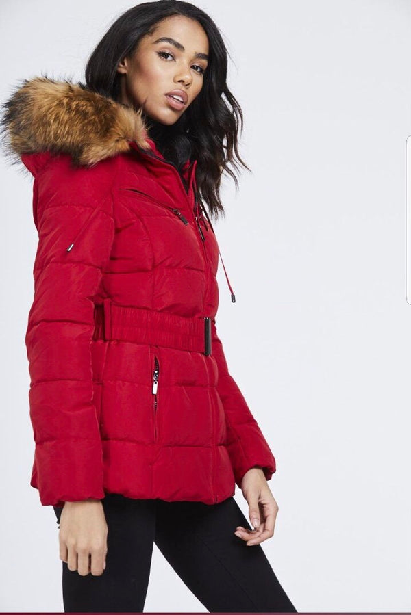 Attentif Paris Parka Raccoon Fur Coat- Red (Natural Fur)