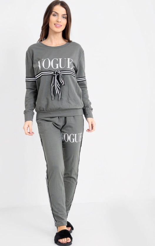 Vogue Bow Loungeset - Khaki
