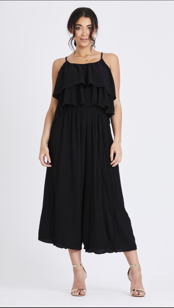 Pleated Two Piece Set - Black
