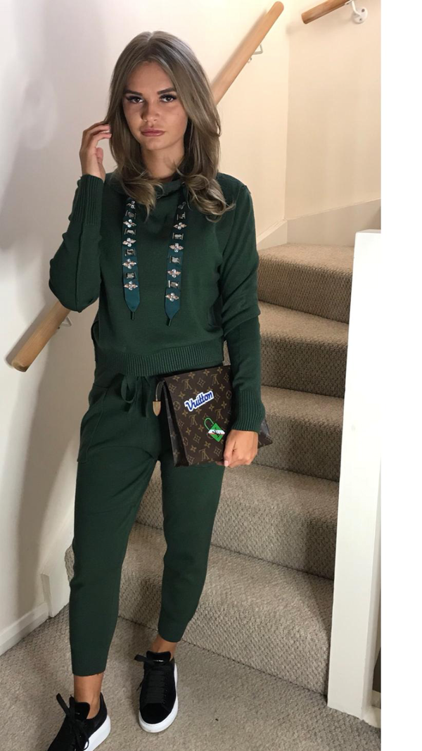 Jewel Embellished Soft Knit Tracksuit - Green