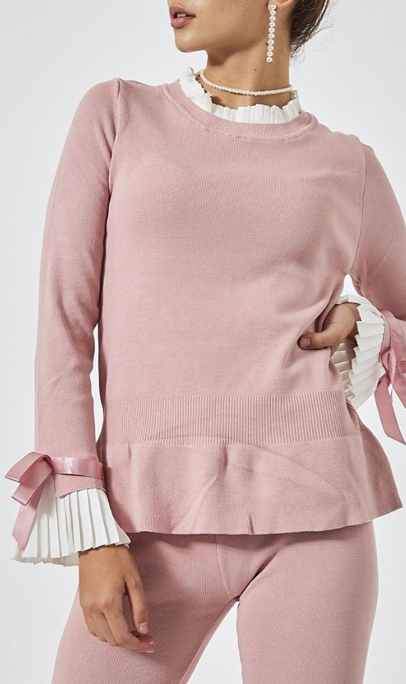 Knitted Pleated Cuff Co-Ord Set - Pink