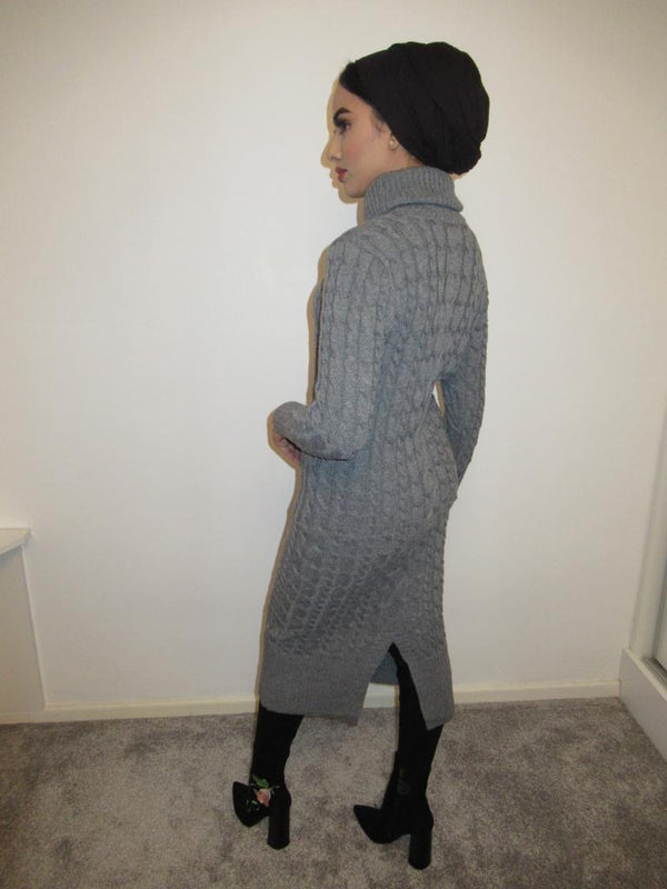 MS x SI Roll Neck Ribbed Maxi Jumper Dress - Grey