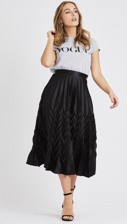 Georgia Black Pleated Skirt