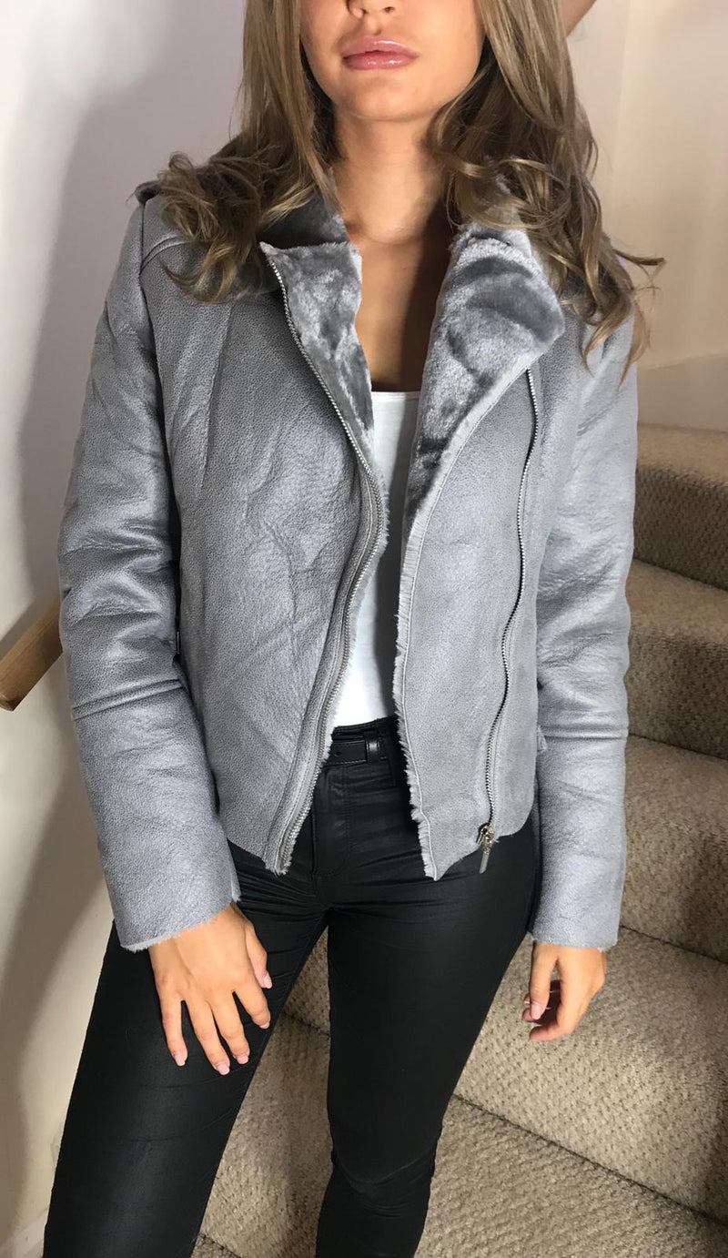Aviator Fur and Leather Jacket - Grey