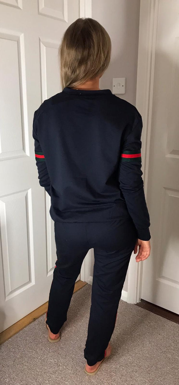 Gucci Inspired Stripe Tracksuit - Navy